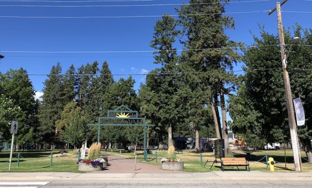 Entrance to Memorial Park in Armstrong BC