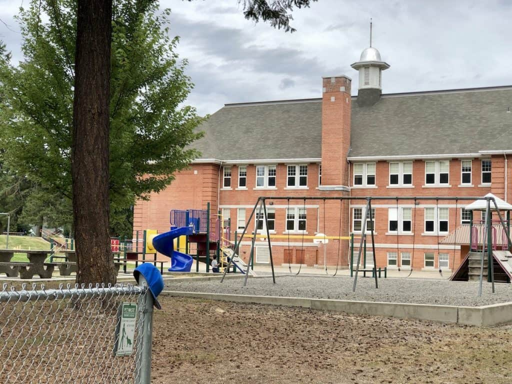 Playground Equipment at Armstrong Elementary School (AES, Brick School) in Armstrong, BC