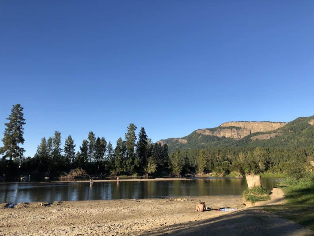 Enderby Cliffs above Tuey Park - River Beach in Enderby BC
