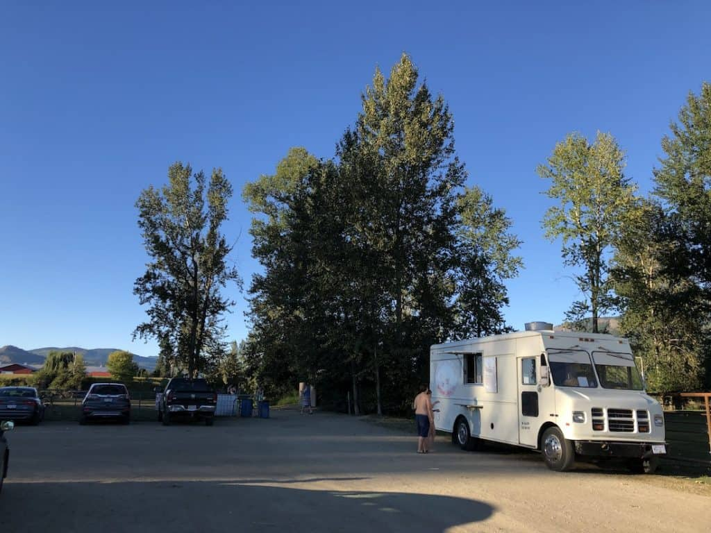 Food Truck in Enderby BC at Tuey Regional Park Parking Lot