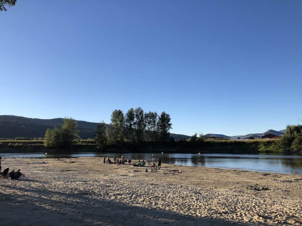 Riverside Beach in Enderby BC - River Float Area