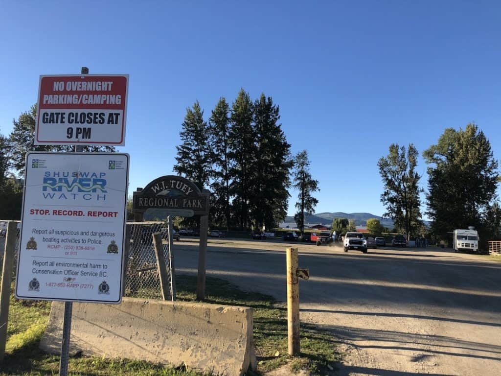 Signs at Tuey Park in Enderby